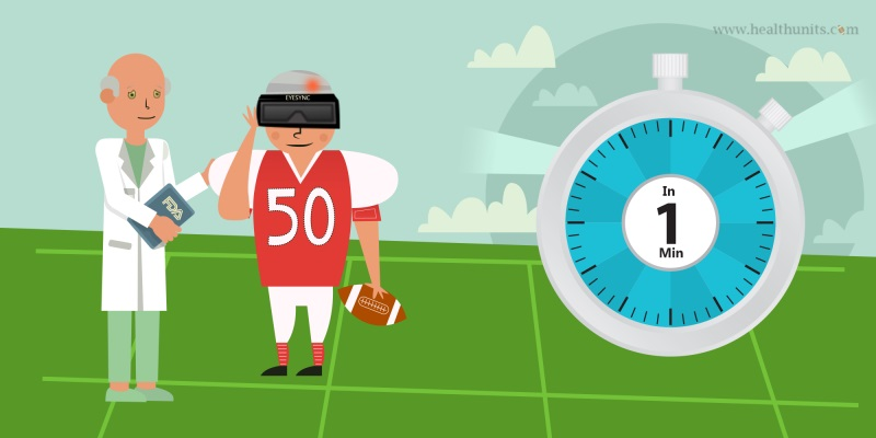 doctor with football player and one minute clock on field