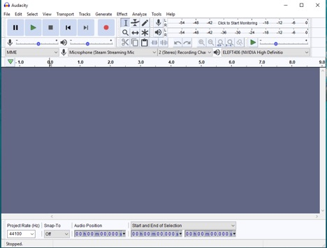 Screenshot of Audacity settings