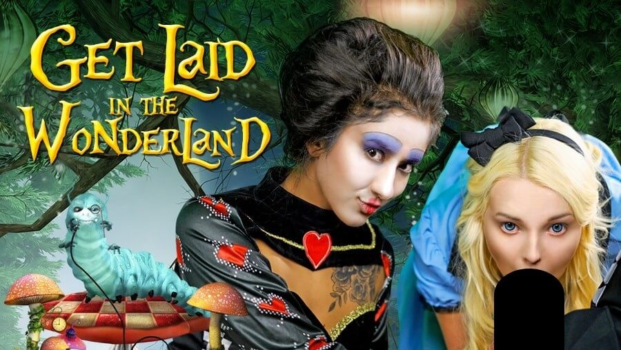 Box image for Get Laid in the Wonderland with two women dressed as Alice in Wonderland characters
